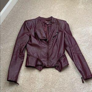 Blank NYC Vegan leather jacket in burgundy purple